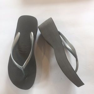 Silver Havaianas High Wedges Size 7-8